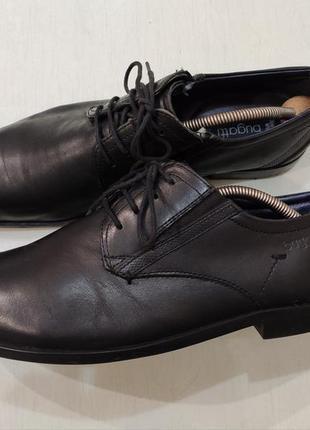 Bugatti мужские чёрные кожаные туфли