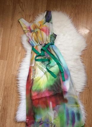 Зелёное длинное вечернее платье в пол,сарафан платье в цветочный принт с поясом,сукня