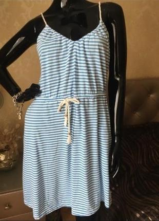 Пляжный сарафан в полоску,полосатое платье на бретельках с карманами на кулиске,сукня