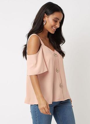 Пудровая блузка с открытыми плечами george размер 18