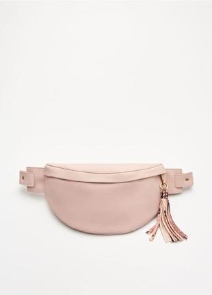 Сумка на пояс со змеиным принтом поясная сумка бананка розовая гладкая