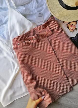 Крутая юбка в клетку на запахе с поясом h&m