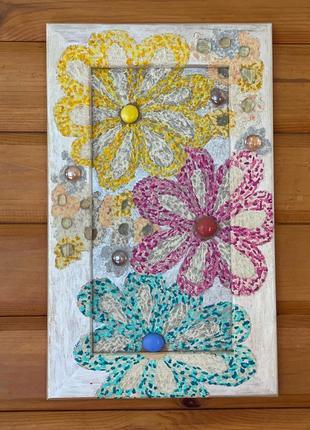 Картина цветы с мозаикой на деревянной рамке don.bacon