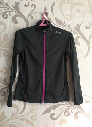 Чорна однослойна бігова куртка вітровка дощовик asics