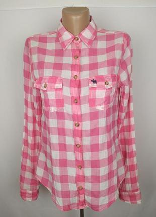 Блуза рубашка оригинальная красивая в клетку abercrombie&fitch m