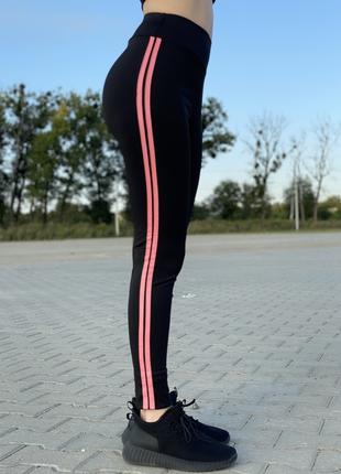 Спортивные женские лосины с розовым лампасом, без карманов zh-100-5