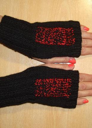 Стильные короткие митенки перчатки без пальцев - акция - новый сезон 2021