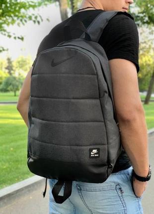Рюкзак темный меланж с черным логотипом