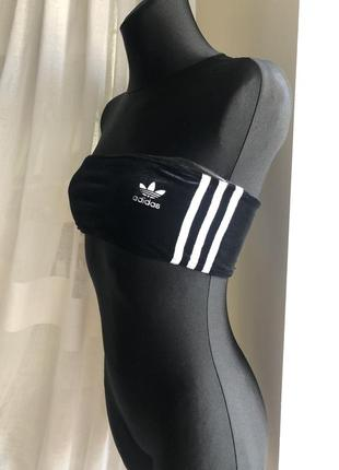 Велюровый топ бюстье adidas оригинал р.xs-s/36