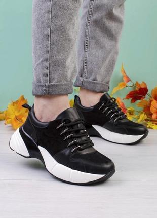 Стильные черные замшевые кроссовки на платформе массивные модные кроссы
