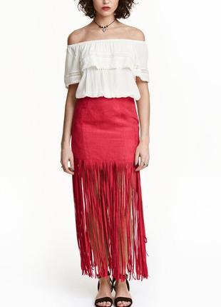 Красная юбка h&m макси с бохрамой.
