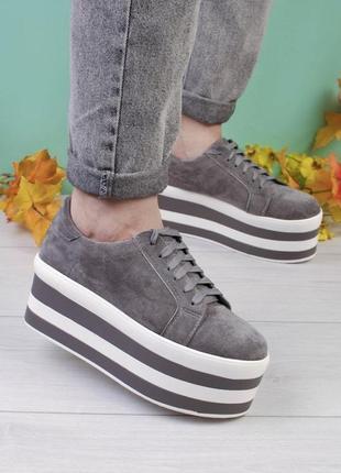 Стильные серые замшевые кроссовки на платформе массивные модные кроссы