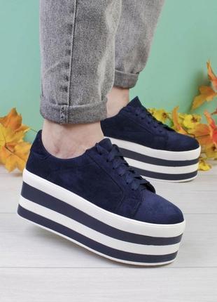 Стильные синие замшевые кроссовки на платформе массивные модные кроссы кеды