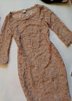 Бежево- пудровое ажурное платье р с- м