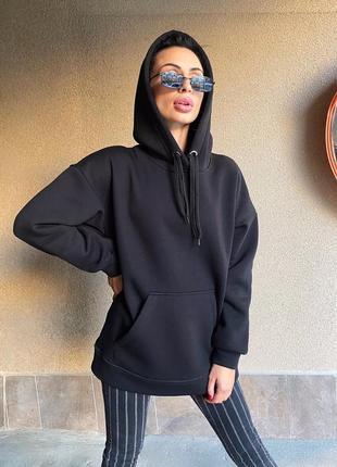 Худи кофта с карманами чёрное длинное оверсайз на флисе 2020 с капюшоном