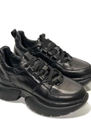 Топ качество, кроссовки черные, кожа натуральная, с 36-41р2 фото