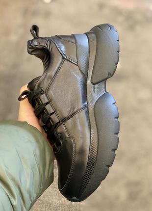 Топ качество, кроссовки черные, кожа натуральная, с 36-41р3 фото