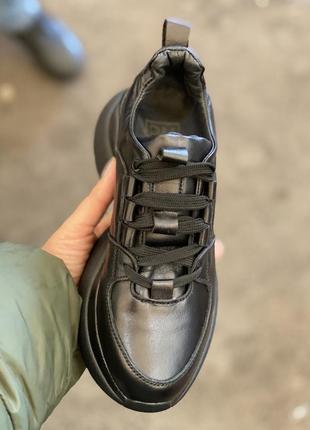 Топ качество, кроссовки черные, кожа натуральная, с 36-41р4 фото