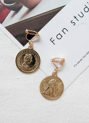 Клипсы серьги сережки без проколов золотистые монетки новые
