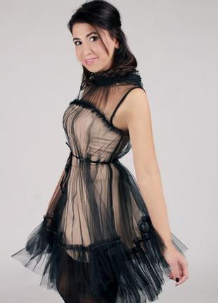 Платье золото с черным фатином