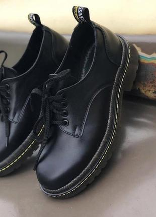 Новые женские кожаные черные туфли броги