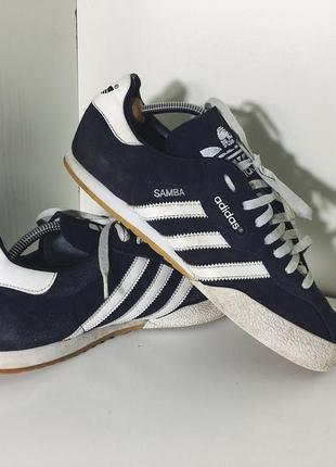 Мужские кроссовки adidas samba ( адидас 45 1\3рр 29см идеал оригинал сине-белые )