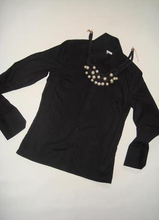 Черная рубашка с запонками karl  lagerfeld for h&m