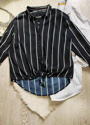 Короткая синяя блуза в вертикальную полоску белая зеленая с узлом завязкой длинный рукав