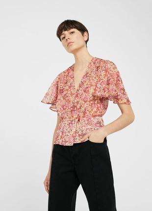 Легка шифонова блуза на запах mango mng suit принт квітковий цветы цветочный