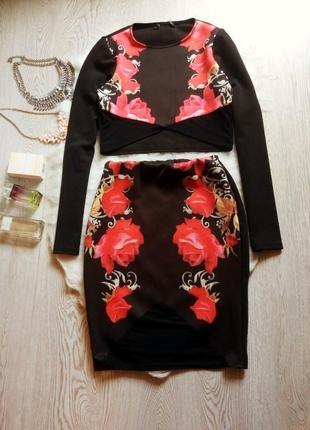 Черный костюм кроп топ юбка миди с цветочным принтом розами сетка рукава длинные