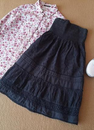 Хлопковое платье / сарафанс кружевом