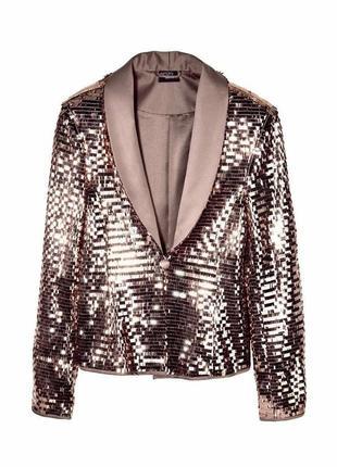 Шикарный нарядный,коктейльный пиджак в пайетку ,чешуя золото esmara