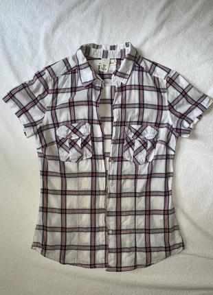Белая хлопковая приталенная рубашка в клетку h&m кэжуал, размер s