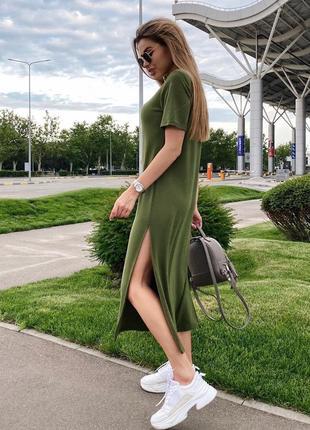 Базовое✔️ платье - футболка оверсайз длинное, миди с разрезом, вискоза, хлопок