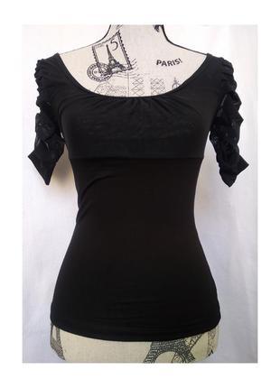 Черный крестьянский топ/ блуза