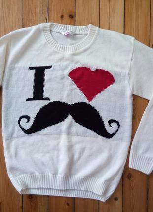 Милый стильный белый свитер усы от sophie