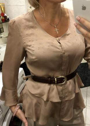 Нюдовая блуза баска , под пояс , ann weyburn la redoute