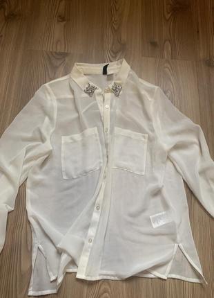 Шифоновая рубашка h&m 34 размер