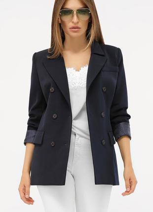 Двубортный т.синий пиджак с длинным рукавом