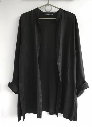 Льняная туника-кардиган, черная рубашка из льна с разрезами mex