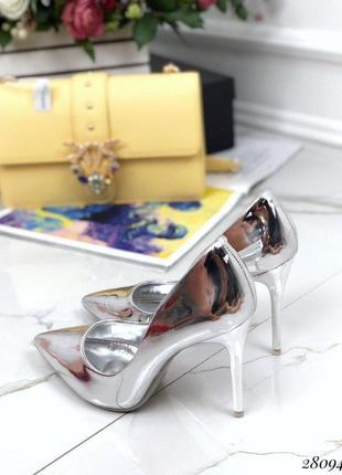 Туфли лакированные comer серебро серебристые на каблуке лодочки