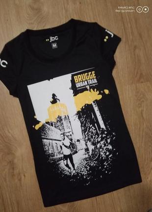 Стрейчевая футболка  смольно-чёрная спорт--s-m-от- jbc- новая