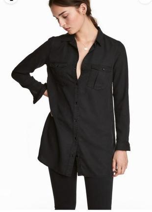 Чорная  рубашка оверсайз из лиоцела