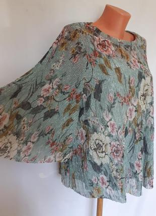 Шикарная нарядная  блуза в цветочный принт с серебряным блеском m&s ( размер 16-20)