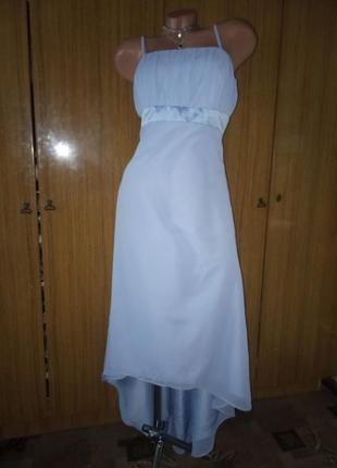 Вечернее шифоновое платье с удлиненной спинкой (шлейф)