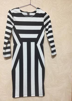 Платье женское с рукавом трикотажное в полоску
