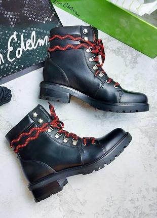 Sam edelman оригинал кожаные черные грубые ботинки