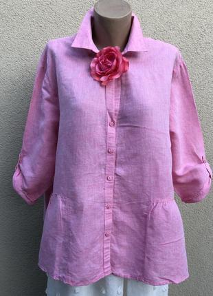 Розовая,лён блуза,рубашка с баской,этно бохо стиль,большой размер