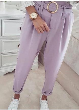Нежные лёгкие штаны брюки с высокой посадкой