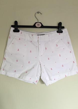 Стильные шорты tommy hilfiger, оригинал р. m-l, белые с принтом якорь